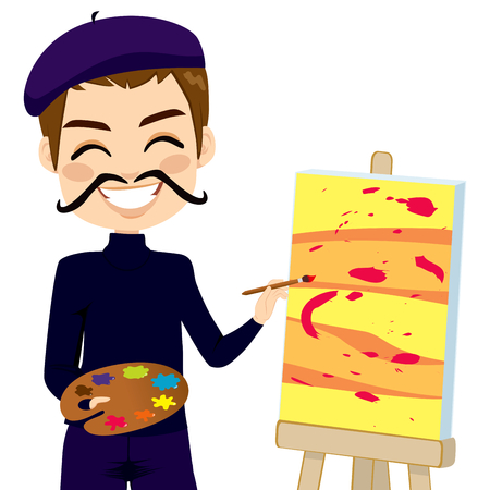cartoon painter: Happy abstract male painter artist with funny mustache smiling and painting with colorful palette
