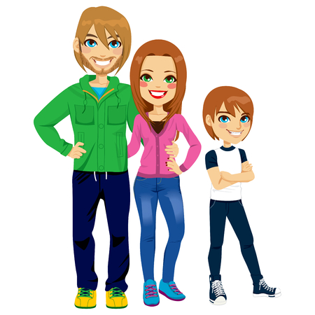 man full body: Illustration portrait of young modern family together with adolescent son smiling Illustration