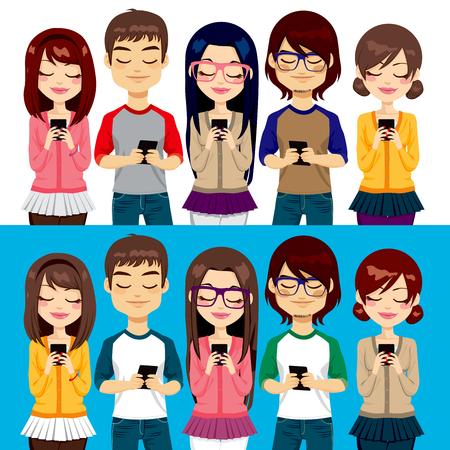 ragazza al telefono: Cinque diversi giovani che utilizzano i telefoni cellulari socializzare su internet Vettoriali