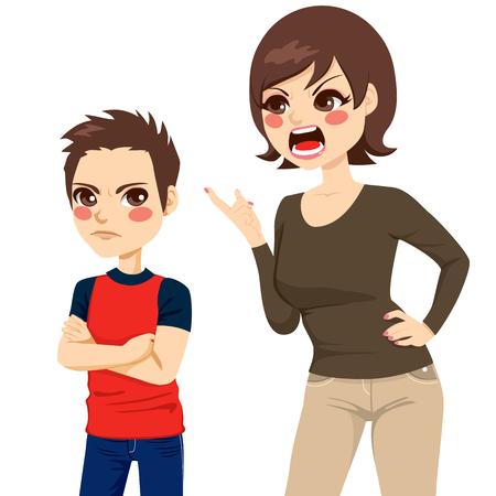 mujer enojada: Ilustración de malestar joven madre regaño muchacho adolescente enojado Vectores