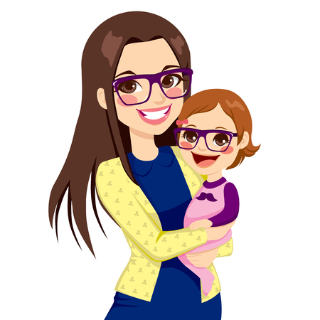 mother and infant: Pretty young hipster style mother with glasses holding and hugging her cute little baby daughter laughing