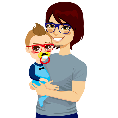 Happy young hipster style father with glasses holding and hugging his cute little baby boy with pacifier Vector