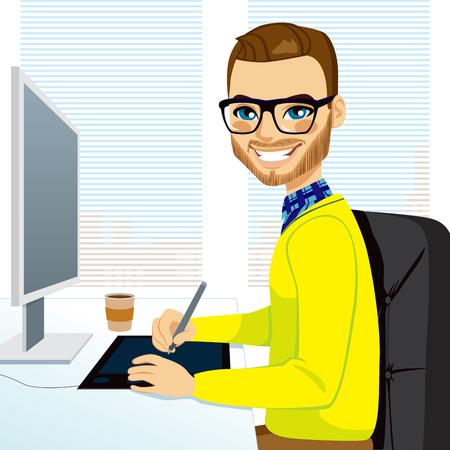 illustrazione uomo: Felice hipster, fashion style graphic designer che lavora con tavoletta davanti allo schermo del computer