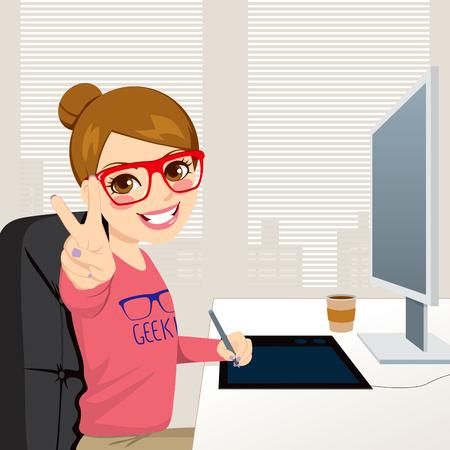 Mooie hipster fashion stijl grafisch ontwerper vrouw werken met tablet voor computerscherm