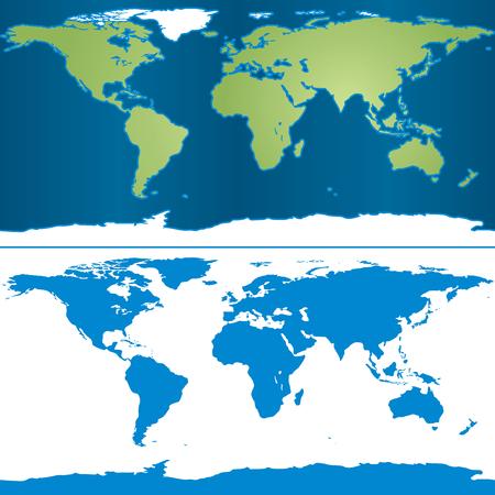 cylindrical: Illustrazione della mappa della Terra in forma cilindrica proiezione di Mercatore