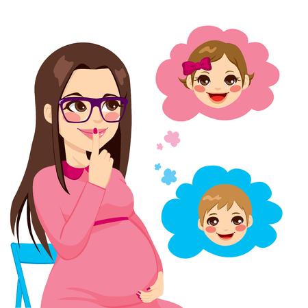 Hermosa mujer morena embarazada se pregunta sobre el sexo de su futuro bebé Ilustración de vector