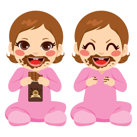 little girl eating: Baby boy eating chocolate bar with face and hands dirty with melt chocolate