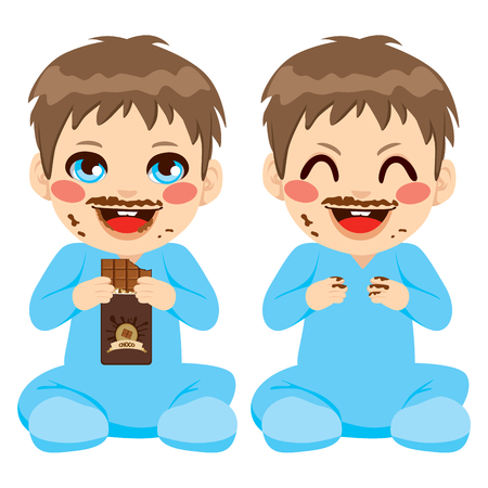 Baby boy eating chocolate bar with face dirty with funny chocolate mustache Vector