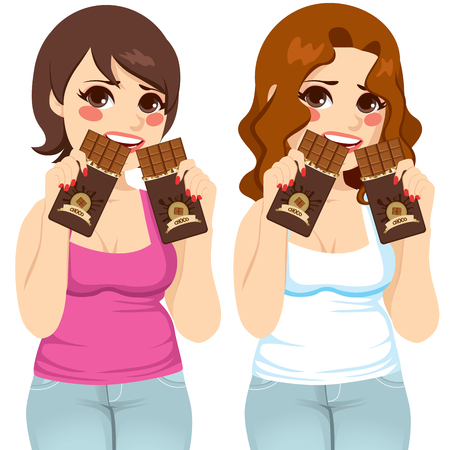Two fat women eating two chocolate bars each like there is no tomorrow with guilt expression