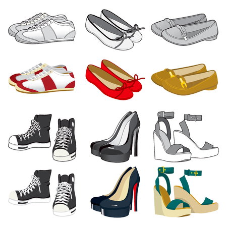 loafer: Collection of six pairs of woman shoes on black and white and color version isolated on white background