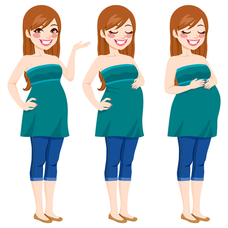 Pretty happy pregnant woman showing pregnancy growing process touching her belly Vector