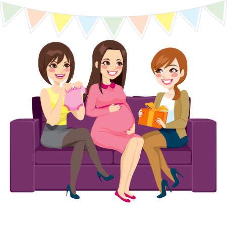 Three beautiful women on a baby shower party, two of them bring presents to pregnant woman