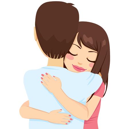 amigo: Joven y bella mujer abrazando a hombre con tierno amor y pasión
