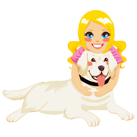 Beautiful blonde little girl hugging golden retriever dog pet Vector