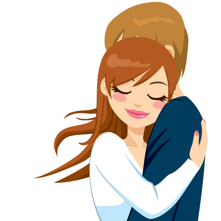 eyes are closed: Beautiful woman hugging man with tender love expression