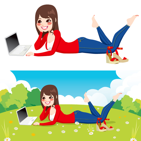 woman lying down: Beautiful brunette woman lying down on grass using laptop on peaceful park with flowers Illustration
