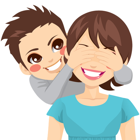 covering: Little son smiling covering his happy mother eyes Illustration