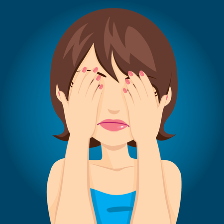 covering: Beautiful brunette woman with sad expression covering her eyes Illustration