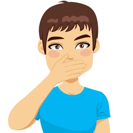 Jonge man met overhemd voor haar mond met een hand Stock Illustratie