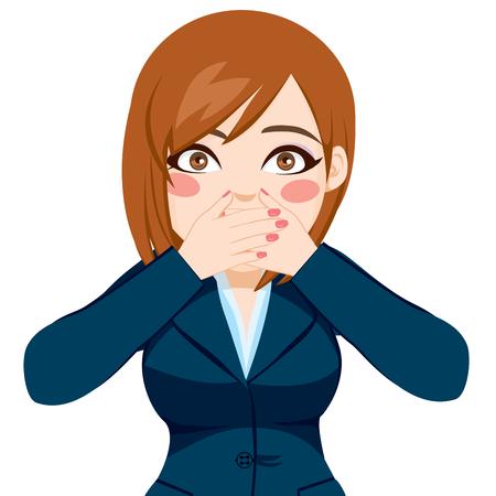 boca cerrada: Mujer hermosa en traje que cubre la boca con ambas manos Vectores
