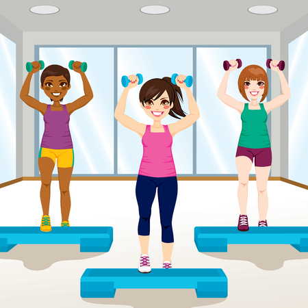 Three beautiful young girls doing aerobic exercises at gym Vector