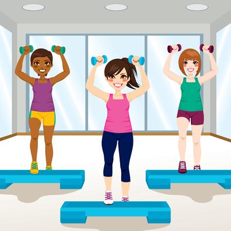 amigo: Tres chicas j�venes hermosas que hacen ejercicios aer�bicos en el gimnasio Vectores