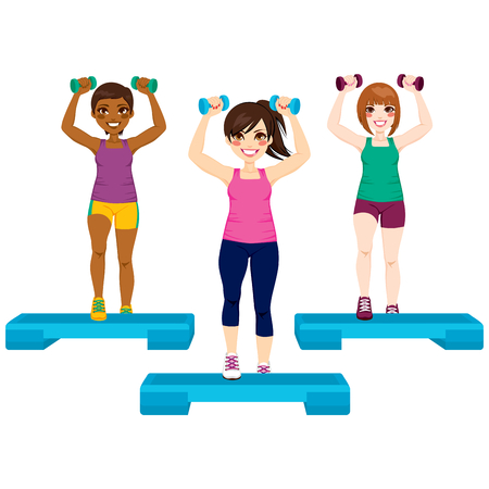 Three beautiful active women doing aerobic exercise with dumbbell and steps