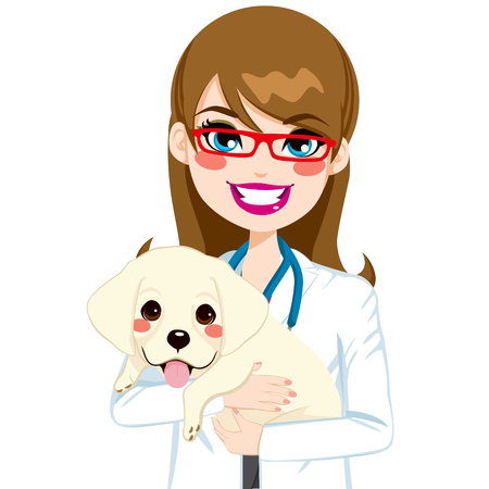 Beautiful young female veterinarian hugging cute little labrador puppy Vector