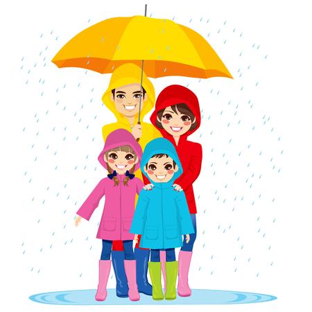 Familia feliz con impermeables bajo grandes paraguas en día de lluvia Vectores