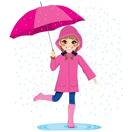 Niña linda bajo la lluvia con el impermeable y el paraguas de color rosa