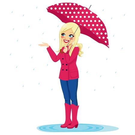 sotto la pioggia: Bella donna bionda che tiene il grande ombrello controllare se la pioggia si ferma con la mano Vettoriali