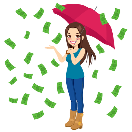 Beautiful brunette woman holding big umbrella happy seeing raining money bills