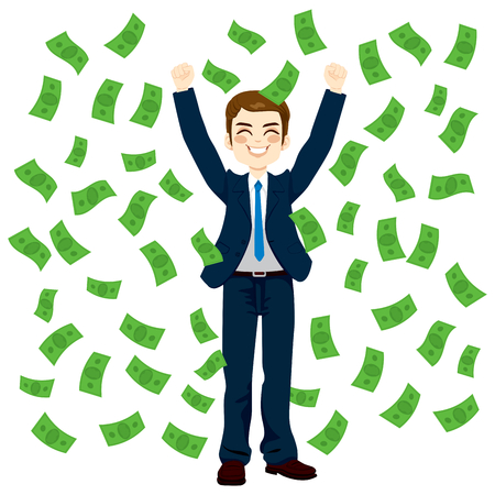 Successful young businessman happy under falling raining money shower
