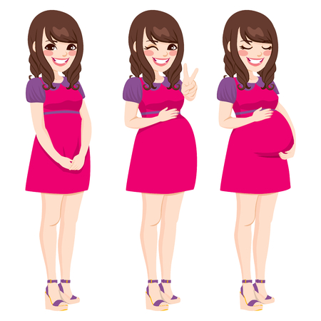 stages: Beautiful asian pregnant woman showing pregnancy growing process touching her belly