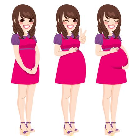 lleno: Hermosa que muestra el proceso asi�tico mujer embarazada embarazo creciente que toca su vientre