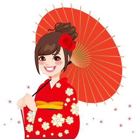 Beautiful asian japanese woman wearing gorgeous red kimono with delicate flowers holding umbrella Vector