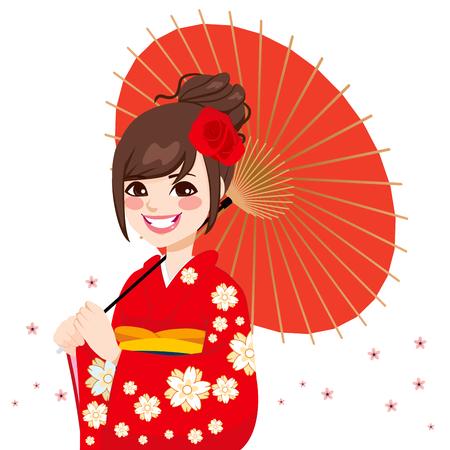 donna giapponese: Bella donna asiatica giapponese che indossa splendidi kimono rosso con fiori delicati azienda ombrello