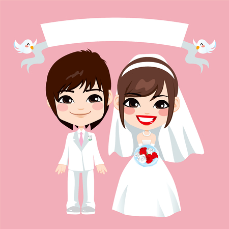 Illustration of lovely sweet asian couple wedding with empty banner held by flying birds Vector