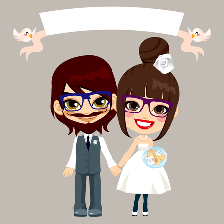 Illustration of lovely sweet hipster young couple wedding with empty banner held by flying birds Vector
