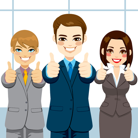 Three business people making thumbs up hand sign on an office smiling happy Ilustrace