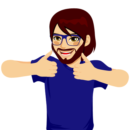 Happy young man with glasses making thumbs up sign with both hands Vector