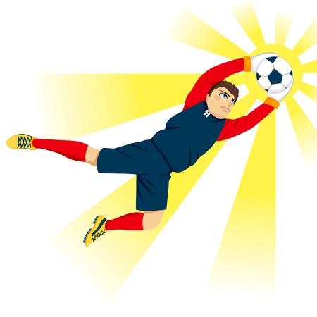 arquero futbol: Joven portero profesional saltar agarrar la pelota con efecto de flash