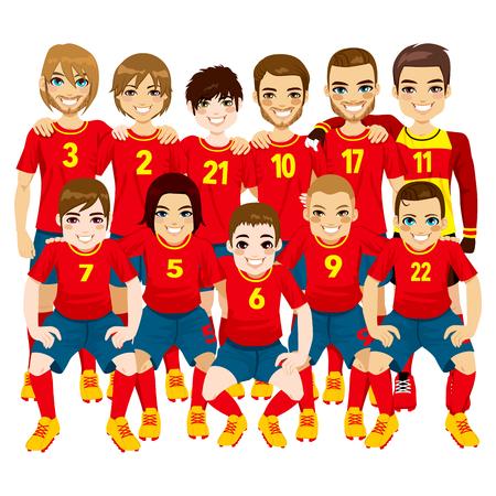 白い背景で隔離の赤いユニフォームで男性のプロのサッカー選手チームのイラスト
