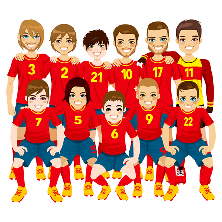 Illustration of male professional soccer players team in red uniform isolated on white background Vector