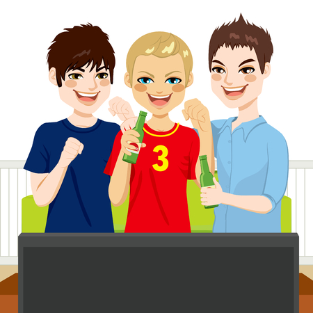 Three young friends watching sports game on television together Vector