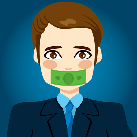 no talking: Young businessman silenced by money concept with green bill covering his mouth