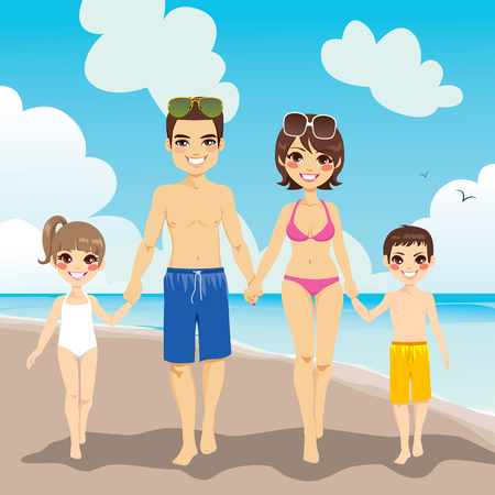 young boy beach: Happy family enjoying beach vacation walking on sand Illustration