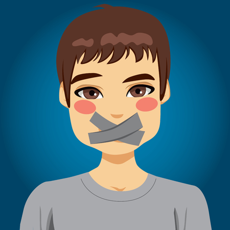 Young man silenced with mouth covered with grey tape Vector