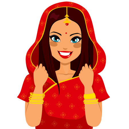 Beautiful brunette indian woman smiling happy with traditional red sari Vector