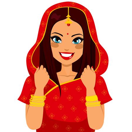 se�oras: Hermosa morena mujer india sonriente feliz con sari rojo tradicional Vectores